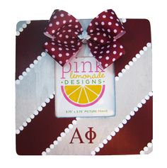 alpha phi bow on an alpha phi picture frame