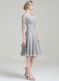 A-Line/Princess Scoop Neck Knee-Length Ruffle Appliques Lace Zipper Up Sleeves 3/4 Sleeves No Other Colors General Plus Chiffon Mother of the Bride Dress