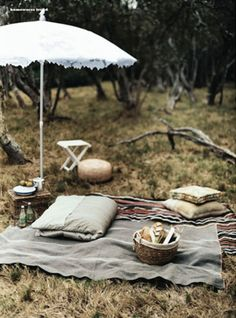Maybe picnic areas for the seating outside if renting furniture is beyond budget? Love the idea, looks super comfy with the right amount of pillows, and throws.