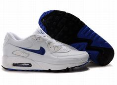 Ken Griffey Shoes Nike Air Max 90 White Blue [Nike Air Max 90 - Nike swooshes on the sides and branding labels on the tongue top and back heel feature attractive blue color. The upper is marked with white color. Nike Running Shoes Women, Running Shoes On Sale, Nike Free Shoes, Nike Shoes Outlet, Nike Women, Zapatillas Nike Air, Nike Air Huarache, Air Max 90 Noir, Nike Pas Cher