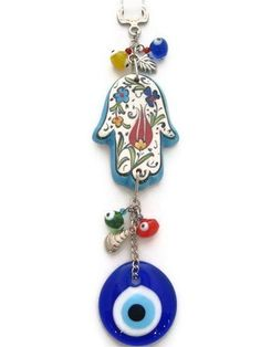 Seramice Evil Eye Keychain with Hamsa by designsfromtr on Etsy, $12.99