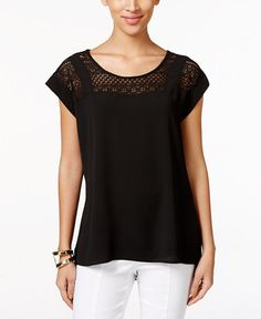 NY Collection Short-Sleeve Lace-Yoke Top