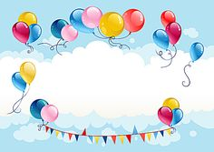 Playful and colorful balloons blue sky background Kids Background, Blue Sky Background, Birthday Background, Diy And Crafts, Crafts For Kids, Paper Crafts, Birthday Wishes, Birthday Cards, Eid Cards