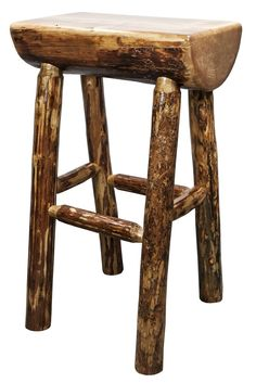 """Handcrafted in Montana, this unique """"half log"""" barstool features genuine lodge pole pine, mortise and tenon joinery and time honed skills to ensure a true heirloom quality item. The master craftsmen at Montana Woodworks® carefully select the raw material for the barstool, choosing only the finest of logs to create this special barstool. Finished in the """"Glacier Country"""" collection style for a truly unique, one-of-a-kind look reminiscent of the Grand Lodges of the Rockies, circa 1900."""