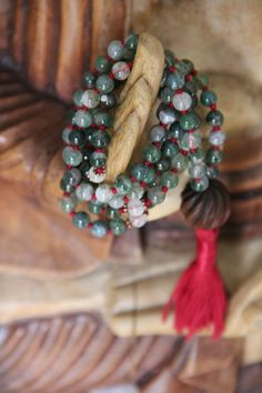 pregnancy  labor support, moss agate and rainbow moonstone, 108 knotted gemstone mala, meditation japa, yoga necklace
