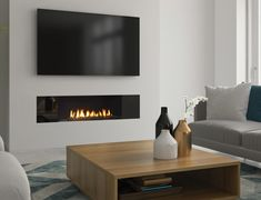 Fireplace Feature Wall, Feature Wall Living Room, Tv Above Fireplace, Living Room Decor Fireplace, Wall Mounted Fireplace, Linear Fireplace, Wall Mount Electric Fireplace, Home Fireplace, Living Room Tv