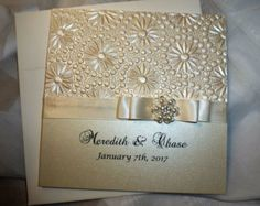 """Invitación de la boda de Marfil, oro y Champagne muestra - """"Oro y marfil"""""""