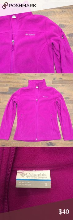 Bright Columbia Fleece Zip-up Jacket Uniquely colored Columbia fleece! Never been worn! Received for Christmas and is just not my color! Very soft and there is a neat pocket on the arm that can be used as to hold a cell. Perfect for a later underneath a ski or snowboard jacket! Columbia Tops Sweatshirts & Hoodies