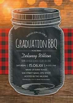 Graduation BBQ Invitations Chalkboard Mason Jar Graduation Party – Unique Rustic Country Cards. Best rustic country graduation party invitations. Feature a creative chalkboard mason jar illustration on a rustic wood and a tablecloth background. A beautiful text typography that you can edit. Perfect for rustic country themed, or other graduation parties. This creative mason jar graduation party invitation is customized. Just add your cerebration details. More at http://superdazzle.com