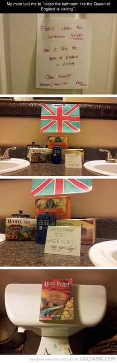 """Classiest way of cleaning your bathroom…""""Clean the bathroom like the Queen of England is visiting""""."""