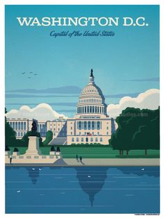 Vintage Travel DC - Size - Size includes a inch white border around the artwork. Digital Print on 80 lb cover matte white Physical poster does. Vintage National Park Posters, Party Vintage, Virgin Islands National Park, Voyage Usa, Beach Posters, Vintage Travel Posters, Grafik Design, Illustrations, Washington Dc