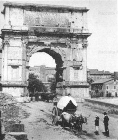 Un carro trainato da buoi all'Arco di Tito. Anno: 1865 c.