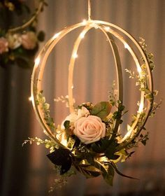 Blush Pink Floral Hoop Wreaths (Set of Unique Design: Handcrafted with blush and ivory open roses, rose buds, greeneries and vines on a bentwood spheres and a orbit hoop. They look realistic and will last forever. Package & Size: Set of 2 floral hoop wr Open Rose, Floral Hoops, Deco Floral, Art Floral, Floral Design, Diy Hanging, Hanging Wedding Decorations, Flower Decorations, Handmade Decorations