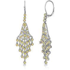 Allurez Fancy Yellow Canary Diamond Chandelier Earrings 14k White Gold (2.27ct)