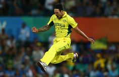 Mitchell Johnson flying after taking two early wickets  Australia has defeated India by 95 runs to move into the World Cup final where it will face New Zealand.