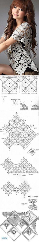 Кофта из квадратных мотивов
