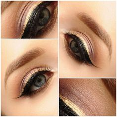 MAC eyeshadows samoa silk, smut, sketch wedge texture and brun - Inliner is anastasiabeverlyhills covet waterproof liner in gilded and eyeliners are eyeko liquid metal eyeliner in black onyx  rose gold.