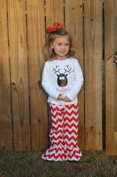 Reindeer Shirt with Red Chevron Ruffle Pants/ Girls Christmas Outfit