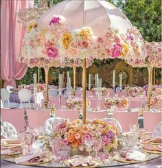 Victorian feel with a Parasol Table Dining . This could be done  in any color combo!