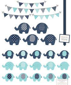 KBlue and Grey Elephant Clipart by Amanda Ilkov on Creative Market Elephant Bleu, Elephant Party, Elephant Birthday, Cute Elephant, Elephant Pattern, Elephant Design, Baby Elefant, Elephant Images, Baby Shawer