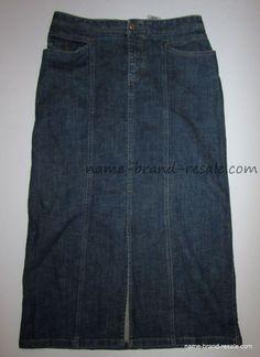 EDDIE BAUER Long Denim Jean Skirt Womens 8 Petite Short Straight Maxi MODEST  #EddieBauer #Maxi