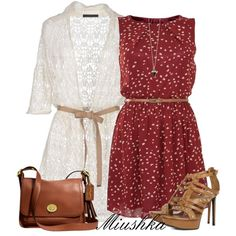 Cardigan with a Dress by miushka on Polyvore featuring polyvore, fashion, style, Tenki, Les Copains, Yves Saint Laurent and Coach