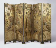 'L'OASIS' An Art Deco style painted and gilt five panel screen after a design by Edgar BRANDT. The original Edgar Brandt screen was sold at Christie's New York, 'Masterworks 1900 - 2000', 8 June 2000, lot 228 (hva)
