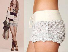 Shorts de Crochê - nova tendência