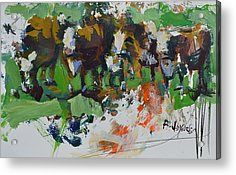 Modern Abstract Cow Painting Acrylic Print by Robert Joyner