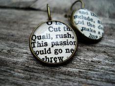 Shakespeare Jewelry  Book Earrings Geek Jewellery by Bookity