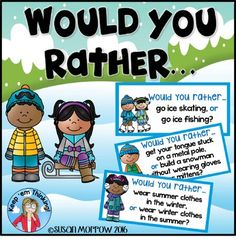 """Winter Opinion Writing - Would You Rather? Let your 2nd, 3rd, 4th, and 5th grade classroom or homeschool students practice their fun """"would you rather"""" thinking skills with this 23 page resource! You get 30 would you rather cards, an I would rather opinion writing planning sheet, and 4 writing response sheets. Click through now to get yours! FREE download"""