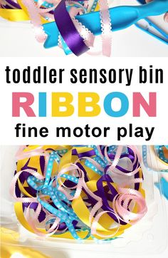 Make a ribbon sensory bin for toddlers and preschoolers - an easy to set up activity idea for 2,3,4 year olds to do at home. Fall Activities For Toddlers, Learning Toys For Toddlers, Apple Activities, Sensory Activities, Infant Activities, 2 Year Old Activities, Toddler Learning, Motor Activities, Indoor Activities