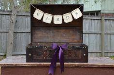 Rustic Wedding Suitcase Box, Shabby Chic Wedding Box, Wooden Trunk, Eggplant Wedding via Etsy