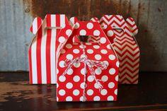 Red Gable Box-Favor Box-Stripe Dot Chevron-set of 6 by SpiralSage
