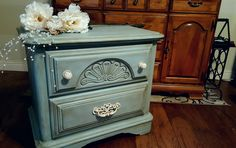 DIY chalk paint shabby chic 2-drawer dresser with a soft chinchilla base benjamin moore paint and a dark antiquing wax finish.