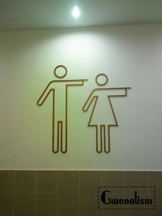 SIGNAGE Signs for male and female changing facilities. Shaped steel or brass could go over painted wall or timber clad wall Toilet Signage, Bathroom Signage, Bathroom Interior, Bathroom Ideas, Shiplap Bathroom, Boho Bathroom, Design Bathroom, Washroom, Bathroom Remodeling