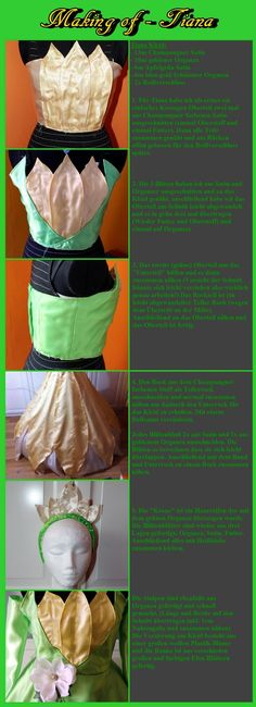 My daughter would love this. ...................Tiana Dress Tutorial by Dira-Chan