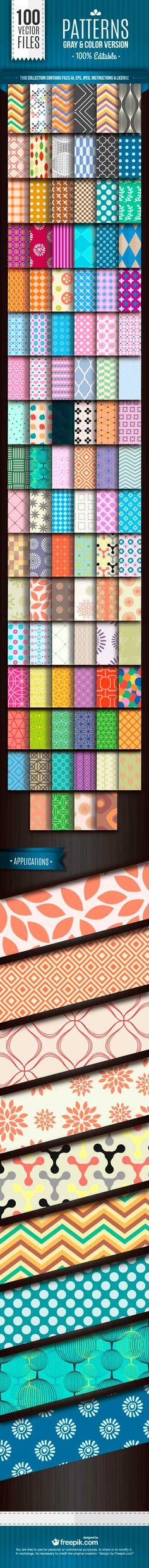 100 Patrones Vectorizados para Adobe Illustrator & Photoshop de Uso Comercial