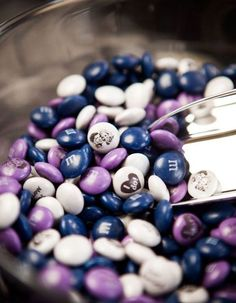 Add some sweetness to your Big Day with these chic ways to serve candy at your wedding, like these chic personalized M&Ms!