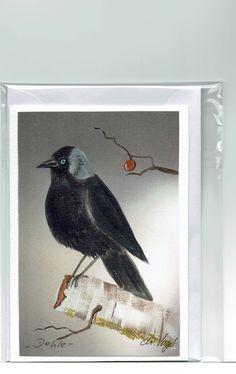 Grüße - Grußkarte - Dohle, handgemalt - ein Designerstück von Vogelmalerin bei DaWanda