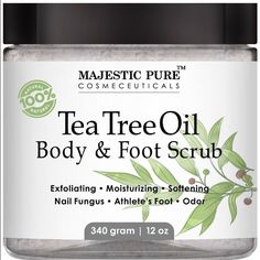 Tea tree oil foot and body scrub-12 oz 100% natural and specifically formulated for Foot Fungas, Ring worm, athlete's foot, softening corns, reducing Itching of insect bites & helping with Warts and Ance; Best tea tree oil, blended with highly moisturizing Tea tree oil scrub can help with minor wounds, encourage healing, and fights infection;  Tea Tree Scrub can help soothing aches and pains, softening corns and calluses, and reducing itching Majestic Pure Foot scrub leaves feet feeling…