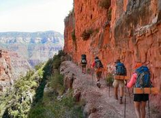 A Four Season Guides group hikes rim to rim in the Grand Canyon.