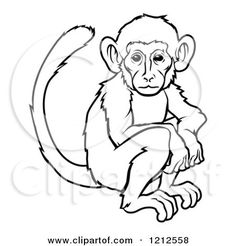 Royalty free clipart illustration of an outlined chinese zodiac monkey ...