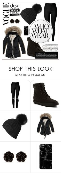 """""""#502"""" by anninhasanguinetti-435 ❤ liked on Polyvore featuring Timberland, Black, Hollister Co., Erica Lyons, Essie, Who What Wear, StreetStyle, fashionset and polyvorefashion"""