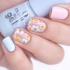 Easter Nail Designs, Easter Nail Art, Acrylic Nail Designs, Nail Art Designs, Acrylic Nails, Nails Design, Flower Nail Designs, Gel Nagel Design, Floral Nail Art