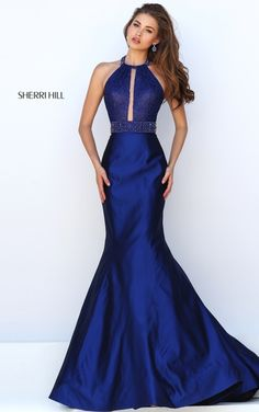Beautiful blue Sherri Hill Halter dress