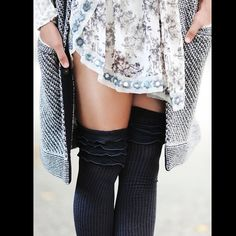 ❗️1DAYSALE $19❗️FREE PEOPLE thigh high socks Tall socks with ruffle trim around top. 110k617  Retail: $28 Size: One size  ❤I have over 300 new with tag Free People items for sale! I love to offer bundle discounts!  ❤No trades. love the item but not the price? Submit an offer! Free People Accessories Hosiery & Socks