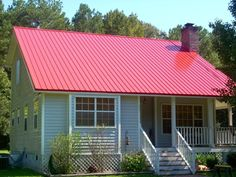 red metal roof houses Metal Roofing Showcase metal roof installed on a small home . Metal Roofing Prices, Metal Roof Houses, Red Roof House, Metal Roof Colors, Mobile Home Makeovers, Fibreglass Roof, Exterior Makeover, Roofing Systems, Flat Roof