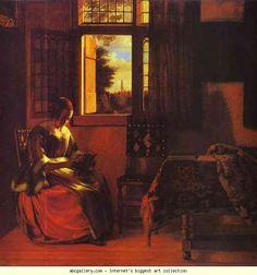 Pieter de Hooch. A Woman Reading a Letter. 1664