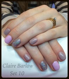 CND Shellac in field fox, cake pop and lecente  rockstar accents